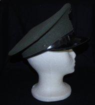 Image of 042.001 - Curt C Cleven's US Marine Uniform, Vietnam Era.  Wool olive drab U.S. Marine uniform belonged  Curt C. Cleven 1954-55-67;  worn during regular Army Service. a. jacket b. pants c. belt d. field cap e. dress cap  slip-on top for cap f. dress cap  crown and visor: black. leather headband