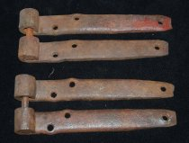 "Image of 003.009.A.B.C.D - 2 pair, iron gate hinges from Old North Bend Grade school.  Both gate hinges are 11"" long and 1.5""  across."
