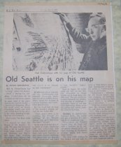 Image of 015.046. Birdseye Map Of Seattle With Article About Illustrator, 1971 (2)