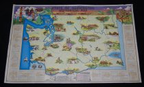 """Image of 030.155 - Historical map of Washington State, colored with condensed State History on back. C. 1947, Size 22 """" x 33.5"""" long. has pictures of historical events in locations where happened, legends down both sides on front and along bottom. Events from Indian tribes,explorers, pioneer settlers, Forts, mining, first State Capitol, trails, wagon roads. Published by Washington State Historical Society, Tacoma, and Bill Reeves, Secretary of State."""