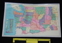"""Image of 030.156 - Map: Washington State and Counties, colored. Size 13"""" x 20.5"""" on white heavy slick paper. Metal strip hanger. Pub by the Thomas D. Murphy Co., Red Oak, Iowa. Shows counties of State of Washington in various colors, State highways, US Highways, Interstate Highways."""
