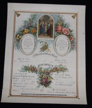 """Image of 124.086 - Emil S Plum and Sophie Kihn marriage certificate.                                                                                                                                                                                                                            Marriage certificate uniting Emil S Plum and Sophie Kihn in Holy Matrimony. Issued by Roman Catholic Church on the 3rd day of June, 1901. Witnessed by Reinhart H. Kihn and Lillie Cushman. Signed by Rev. N.A. Miller of the Sacred Heart Church of Seattle.  14""""x18"""".   Decorated in colored floral design and colored Biblical picture. Several Biblical verses given."""