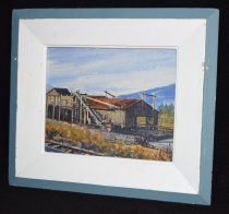 Image of 1069.005 - Painting of Tanner Mill by MA Benedict, 1972. Made for Nobach Family, the owners of the mill at the time.  Frame made from wood from Tanner Mill.