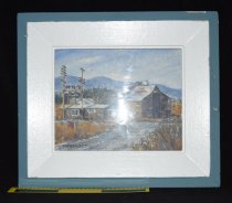 Image of 1069.006 - Painting of Tanner Mill planer mill and office by MA Benedict, 1972. Made for Nobach Family, the owners of the mill at the time. Frame made from wood from Tanner Mill.