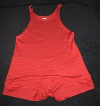 Image of 037.021 - Man's red wool swimsuit used by Mr. Simmons, vintage about 1920's.