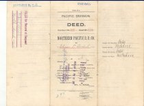 """Image of 003.061.B - Property deed, Northern Pacific R.R. Co. to Edgar T. Boalch, October 20, 1886.   Contract number 2431; Deed No. A546; POst Office, King County, Snoqualmie, Wn., King Co. Territory of Wash.; for $160.00; Sec N.3, T.N. 23, R N 8; WM Gov't Survay, 40 and 40/100 acres. Signed by James B. Williams, 3rd V. Pres., No. Pac RR Sam'l Wilkeson, Sect. E. Francis Hyde, Pres  White paper. purple printing, 11""""w x 17"""" L"""