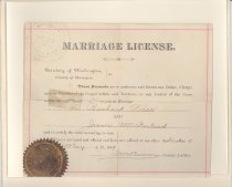 """Image of 145.049 - Richard Price and Jessie McFarland Certificate of Marriage.  7"""" x 8-1/2"""" Territory of Washington, County of Okanogan, Richard Price and Jessie McFarland, First day of May, 1889. Signed by the County Auditor. The certificate has the gold seal of the Auditor's Office, Okanogan Co. W. T.  The license is in a cream colored folder, that is used for a picture."""