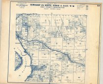 """Image of 030.129.2 - Map: plat #22. Sammamish. Size 14 x 17"""". Published by Kroll, blue printing on white paper. Township 25 North- range 6 east, WM."""