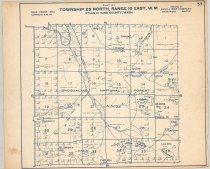 """Image of 030.134 - Map: #57 Plat of Pratt River, West Branch of Pratt R. Logging Railroad. Township 23 North, Range 10 East WM. Snoqualmie National Forest. Also Preacher Mtn., Derrick Lake, Melakwa pass, Mt. Defiance, Pratt lake, Lower Tuscohatchie Lake, Lake Tuscohatchie, Camp Twilight, Section holdings of North Bend Timber Co. and Snoqualmie Falls Lumber Co., Northern pacific Ry. Published by Kroll maps, Seattle. 14 x 17"""" long, white paper with blue printing."""