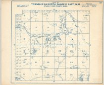 """Image of 030.138 - Map: #67. Plat of Taylor River, E. Fork Miller River, lake Dorothy, Dingford Creek. Township 24, north, range 11 East, WM. Nordrum Lake, Snoqualmie Lake, Hardscrabble Creek, Snoqualmie National Forest. Kroll Map Co., Seattle, WA. White paper with blue printing, 14 x 17"""" long."""