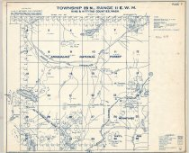 """Image of 030.146 - Map: #7. Middle Fork Snoqulamie River, So. Fork Snoqualmie River, Summit of Cascade Range, Goldmeyer Hot Springs. Township 23 No, Range 11 East, WM. Snoqualmie National Forest & Wenatchee National Forest. Also, Middle Fork Road, Burnt Boot Creek, Snow Lake, Commonwealth Creek, Snoqualmie Mtn., Denny Mtn, Hemlock Pass,Melakwa pass. Mines on Hardcrabble Creek, So. Fork Snoqualmie RIver, Denny Creek, C.Metsker, Civil Engineer, Portland, Oregon. Published by Kroll Maps, Seattle WA. Blue printing on white paper. 14 x 17"""" long."""