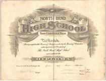 """Image of 003.039 - Ted Boalch's North Bend High School Diploma. June 1916.    Given June 1916, Roger E. Williams, Principal: W.P. Hillyer, President, Board of Directors; E.W. Clocksin, Secretary, Board of Directors.      Heavy white paper  16"""" x 21"""""""
