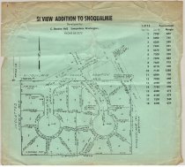"""Image of 014.025 - Surveyor's map Si View Addition to Snoqualmie. Unplatted- Snoqualmie Falls Edition.  On green paper 10"""" x 11.5"""" 18 lots approximate 6500 sq ft. Developed by C. Beadon Hall Snoqualmie, Washington."""