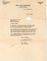 Image of 17-181-c, Letter Of Offer To Marguerite Wilkie To Teach At Fshs, 1938