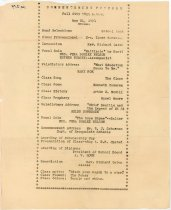 """Image of 030.279 - Commencement program: Fall City High School, May 20, 1931. 8.5 x 11"""" Standard size typing paper. The program is indented 2 inches, with astericks, forming a frame. It is typed with the above and the program for the evening. It also has the class motto, flower and colors. The paper is torn around the edges and the paper has yellowed."""