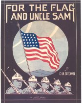 Image of 040.797 - Words and music by O. B. Brown. Published by The music Shop, Wenatchee, Wash. Good condition. Stars and stripes flag in pale blue circle on black cover with white printing. Five heads of soldiers in campaign hats and rifles over shoulders.