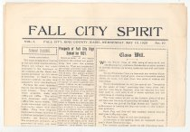 """Image of 179.005 - School Newspaper 2 sheets 11"""" X 15""""  FALL CITY SPIRIT Vol. I. FALL CITY, KING COUNTY, WASH., WEDNESDAY, MAY 19, 1920 No. 10  Articles: Home economics, Prospects of Fall City High School for 1921, Declamation. Senior Class of 1920 Class Will.  Page 2: Staff, reporters, and list of those connected with the publication of the paper. School Activities. Ads for Raycraft Garage, Fall City, Wash, Sunset Garage, North Bend. W. J. Kollmeyer Auto Sales Co. Tolt, Wash.  Page 3, an article of Faculty & School, Tolt Commencement, and some other ads.  Page 4 has the Class History. There is an article of the way the seniors raised money for a class memorial, a curtain for the auditorium. Also, several more ads including one for horseshoeing M. P. Jorgensen."""