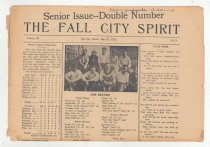 """Image of 179.007 - School Newspaper 3 sheets 11.5 X 15""""  THE FALL CITY SPIRIT SENIOR ISSUE--DOUBLE NUMBER  Volume III Fall City, Wash., May 26, 1922  No. 9  Page 1 has a picture of the track team, report of a baseball team, the records of the track team. It also has the Senior Class Poem of the class of 1922, and the Senior Song.  Page 2 has the editorial page, the Salutatory speech by James Bonell. The Valedictory Speech by Philip Moore, and the class prophecy.  B: Supplement to Senior Number This page is of all the Senior Activities, Commencement exercises, baccalaureate class day exercises, and other news of the class.  Page 2 Has the class history and the report of the Student Body's last assembly, besides other news item.  Pages 3 and 4 are continuations of the class prophecy and more ads of the local merchants.  C. Last page of the newspaper has the last will of the Senior class. Letters and pins awarded to staff members and players of the baseball team. And many more ads for the business places."""