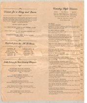 Image of 968.001 - Snoqualmie Falls Lodge Menu from lodge waitress Dorothy Requa.