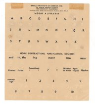 """Image of 075.019 - Braille Moon Alphabet, square card, 5.875"""" from Braille Institute of America, Inc."""