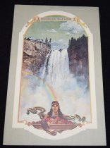 Image of 015.452 - Menu for Snoqualmie Falls Lodge.  9.25x14.  The front of the menu has a picture of the Falls and of an Indian lady.  The inside of the menu has the half page of the list of wines and two pages of menu.  The back of the menu has the Legend of Snoqualmie Falls and the History of the Lodge.