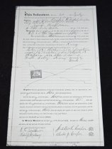 """Image of 030.297 - Warranty Deed (copy) 186475. 8.5x14"""" The indenture was made July 20, 1899, for the sale of lots 13, 14, 16 in Block 13 in the plat of Fall City, King County, Wash. It was sold for the consideration of $350. Jacob Cooper and Rhoda J. Cooper to Jacob Huffman. The deed was recorded at the request of J.W. Huffman, Feb 6, 1900."""