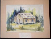 Image of 063.001 - Watercolor of first Fall City School by Francilu Hansen.