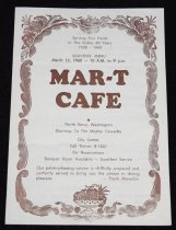 """Image of 145.141 - Menu: Souvenir: Mar-T Cafe 6 x 8 1/2"""".   The front page has Serving Fine Foods in the Valley 40 Years 1928 - 1968.   The Menu was for March 13, 1968--10 a.m. to 9 p.m.   MAR-T CAFE North Bend, Washington Doorway to The Mighty Cascades  The inside pages of the menu has the list of available dinners, etc., and the prices. No orders to go at these prices."""