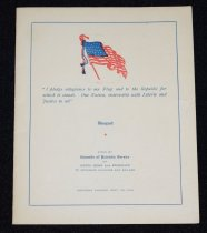 """Image of 169.002 - Councils of Patriotic Service, North Bend to Edgewick, to Returned Soldiers and Sailors banquet menu. September 20, 1919.  Banquet Menu, white, folded. American Flag on front. 5"""" x 6"""". Pledge of Allegiance in blue print under flag.  Given by COUNCILS OF PATRIOTIC SERVICE of North Bend and Edgewick, to Returned Sailors and soldiers. Saturday evening, Sept. 20, 1919.  Inside front cover is white frame w/ red edge, w/ one small gold star in center. Below is lists of Honor Roll of No. Bend and Edgewick. Back page has Menu.  Back cover has large gold star and names: David Renton, Albert Emery, Edw. C. Koester"""