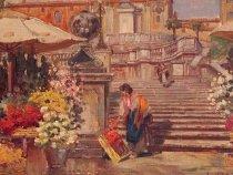 "Image of Painiting, ""Spanish Steps"" (detail)"