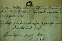 Image of German inscription on the back of a miniataure of a lady in a straw hat