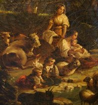 Image of Pastoral scene with family, cattle, sheep and goats (detail 1)