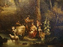 Image of Pastoral scene of a family with and sheep (detail 1)