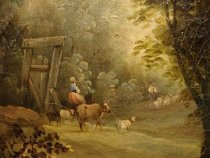Image of Pastoral scene of a family with cattle and sheep