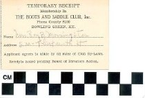 Image of Temporary Membership Card Boots and Saddle Club