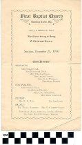 Image of First Baptist Church Christmas Service program, 1910