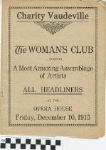 Image of Charity Vaudeville program, 1915