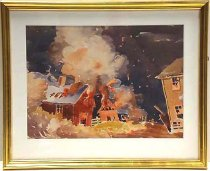 Image of Watercolor painting of a fire by Ivan Wilson