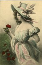 Image of Woman holding a rose