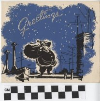 Image of Christmas card with santa claus on front