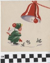 Image of child with bell christmas card front