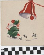 Image of Christmas Card with child and bell front