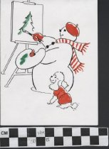 Image of Snowman and Dog Christmas Card front