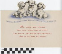 Image of three dogs birthday card inside