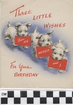 Image of three dogs birthday card front
