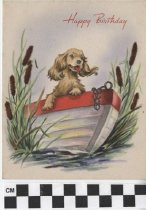 Image of Birthday Card with dog in boat front