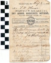Image of Receipt from J. W. Stark Grocery Store