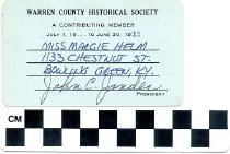 Image of Warren County Historical Society membership card