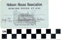 Image of Hobson House Association membership card