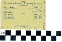 Image of Kentucky Colonel membership card